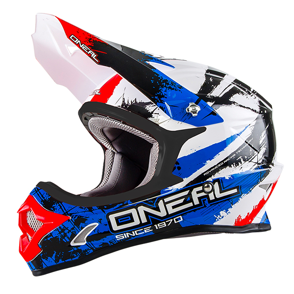 CASQUE BMX DH O'NEAL BACKFLIP RL2 SHOCKER BLEU ROUGE ENFANT XS S