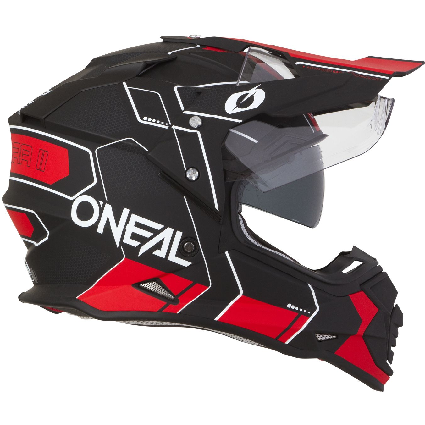 CASQUE ENDURO DOUBLE VISIERE PINLOCK ONEAL SIERRA2 DECO ROUGE