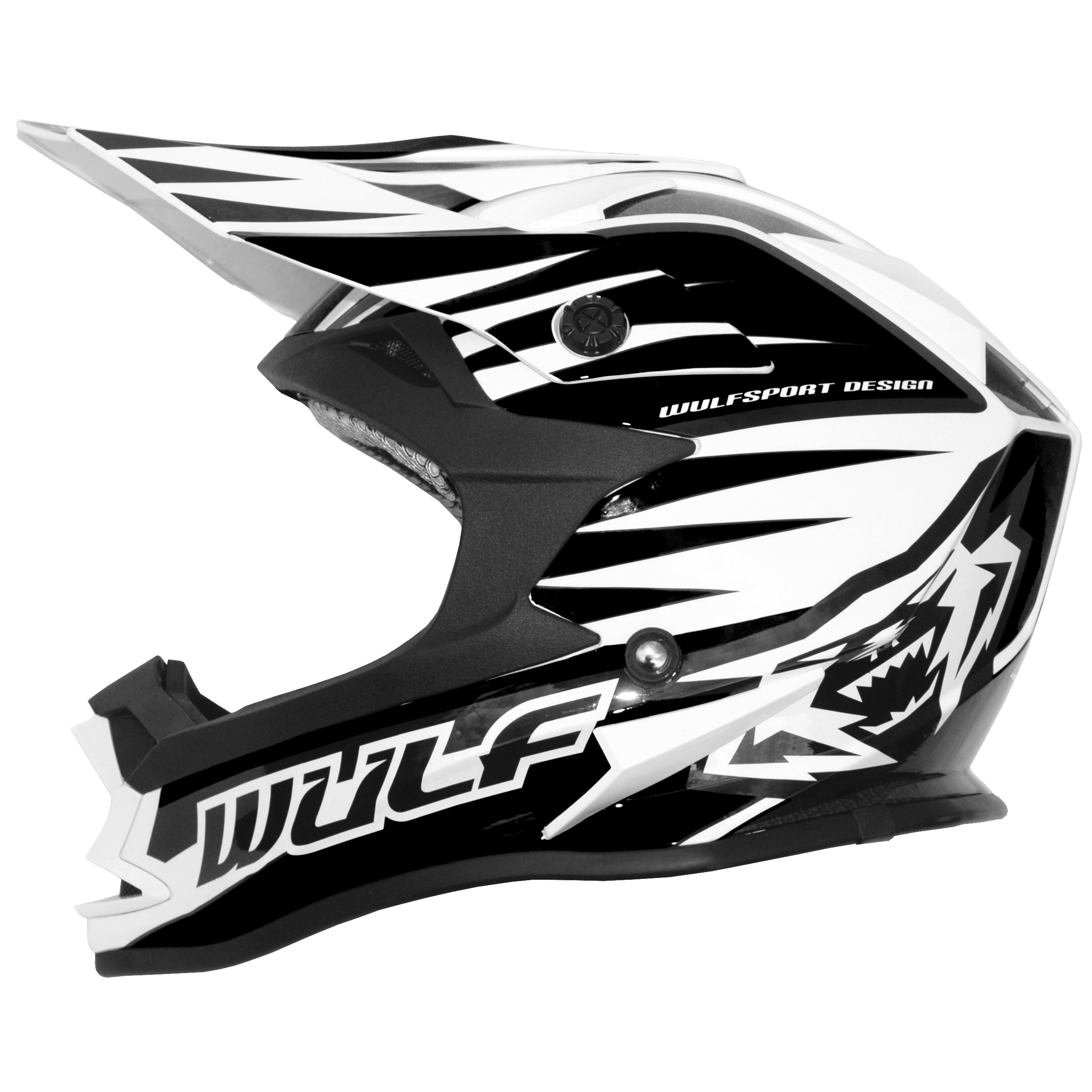 CASQUE ENFANT MOTO CROSS WULFSPORT ADVANCE NOIR BLANC YS a YXL