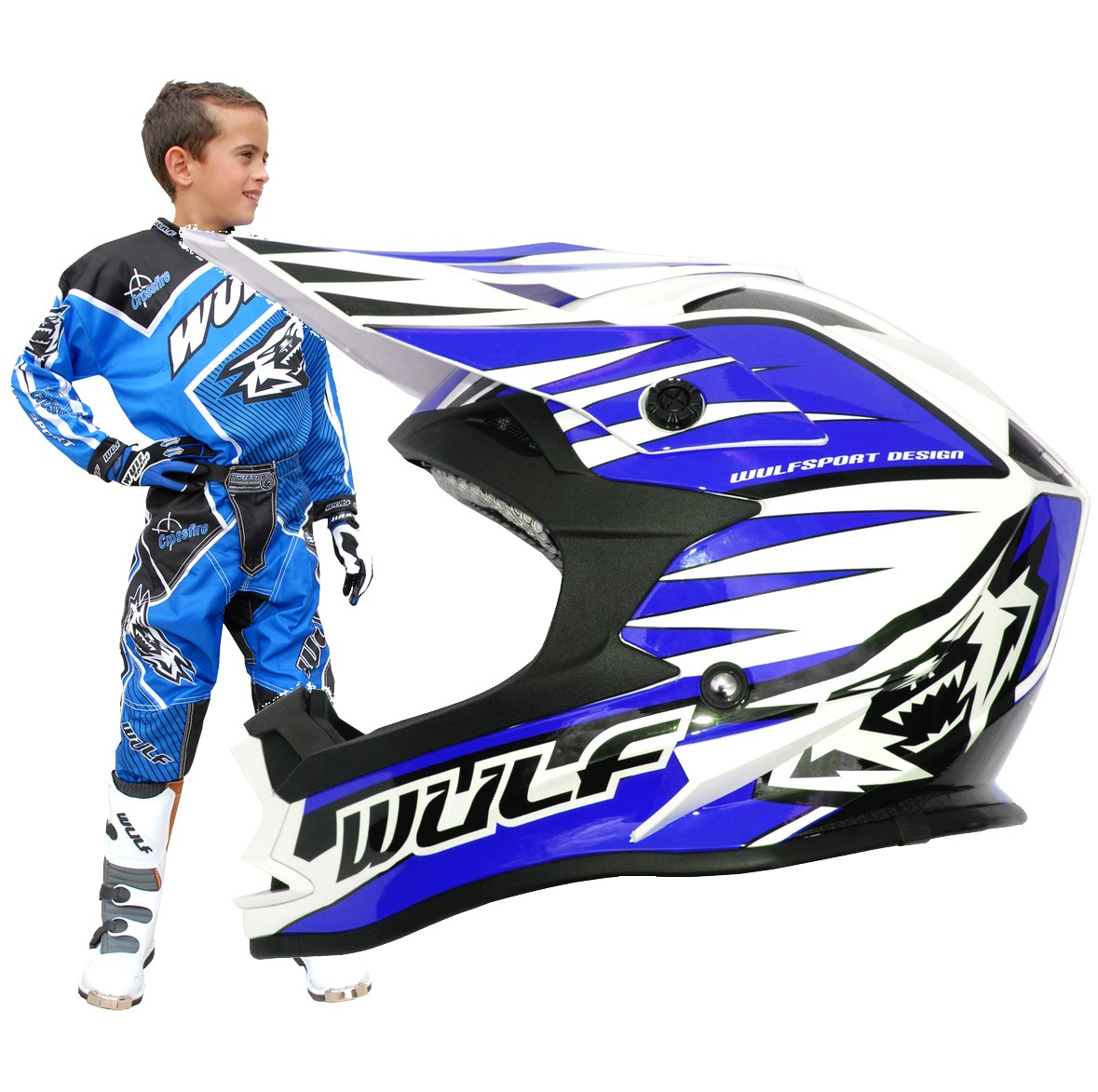 CASQUE ENFANT MOTO CROSS WULFSPORT ADVANCE BLEU YS a YXL