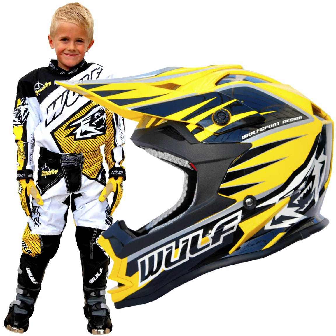 CASQUE ENFANT MOTO CROSS WULFSPORT ADVANCE JAUNE YS a YXL
