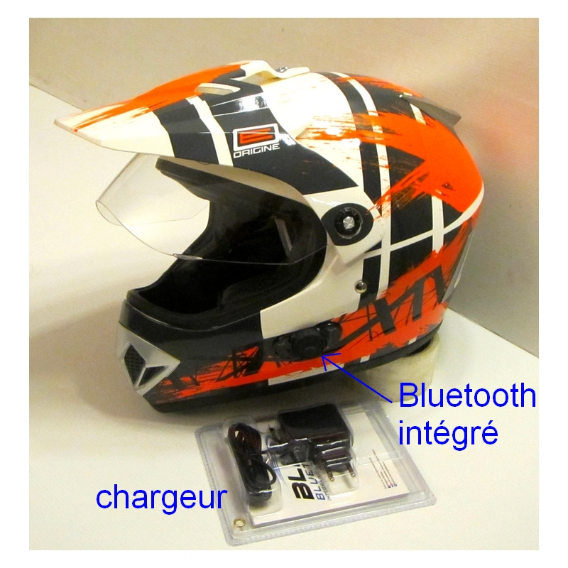 casque cross avec visi re gladiator bluetooth orange xs. Black Bedroom Furniture Sets. Home Design Ideas