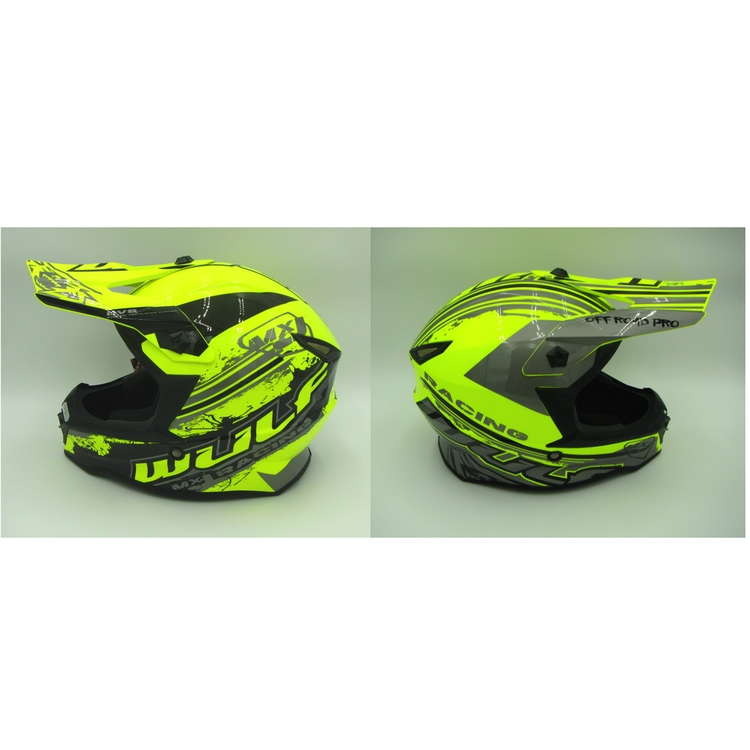 CASQUE ENFANT MOTO CROSS WULFSPORT MX RACING JAUNE FLUO YS a YXL