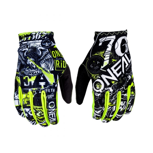 GANTS ENFANT MOTO CROSS BMX O'NEAL MATRIX ATTACK JAUNE FLUO