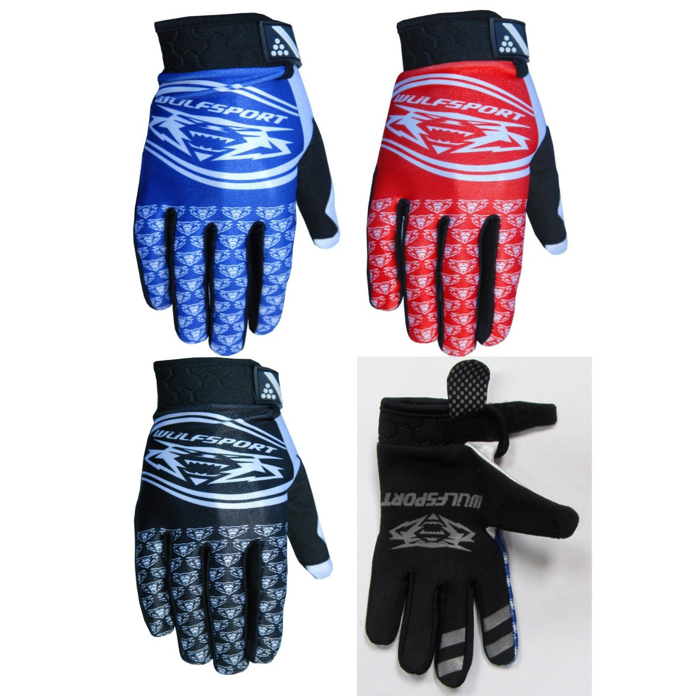 GANTS CROSS WULFSPORT COMP LIGHT enfant et adulte rouge bleu noi