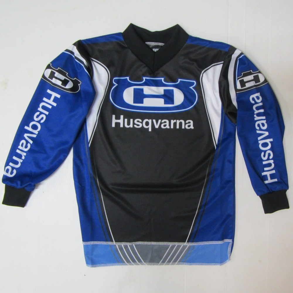 maillot moto cross ou bmx enfant husqvarna hva bleu xxxs 8 9 ans. Black Bedroom Furniture Sets. Home Design Ideas