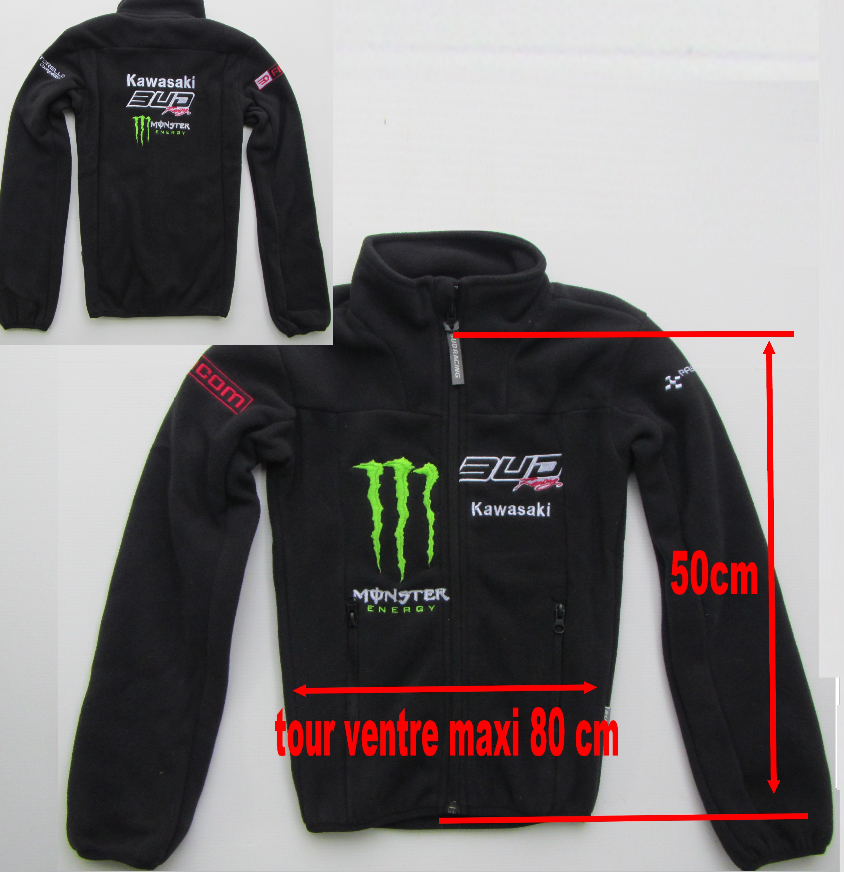 SWEAT VESTE POLAIRE ENFANT MONSTER TEAM BUD BUD ENFANT 14 ans