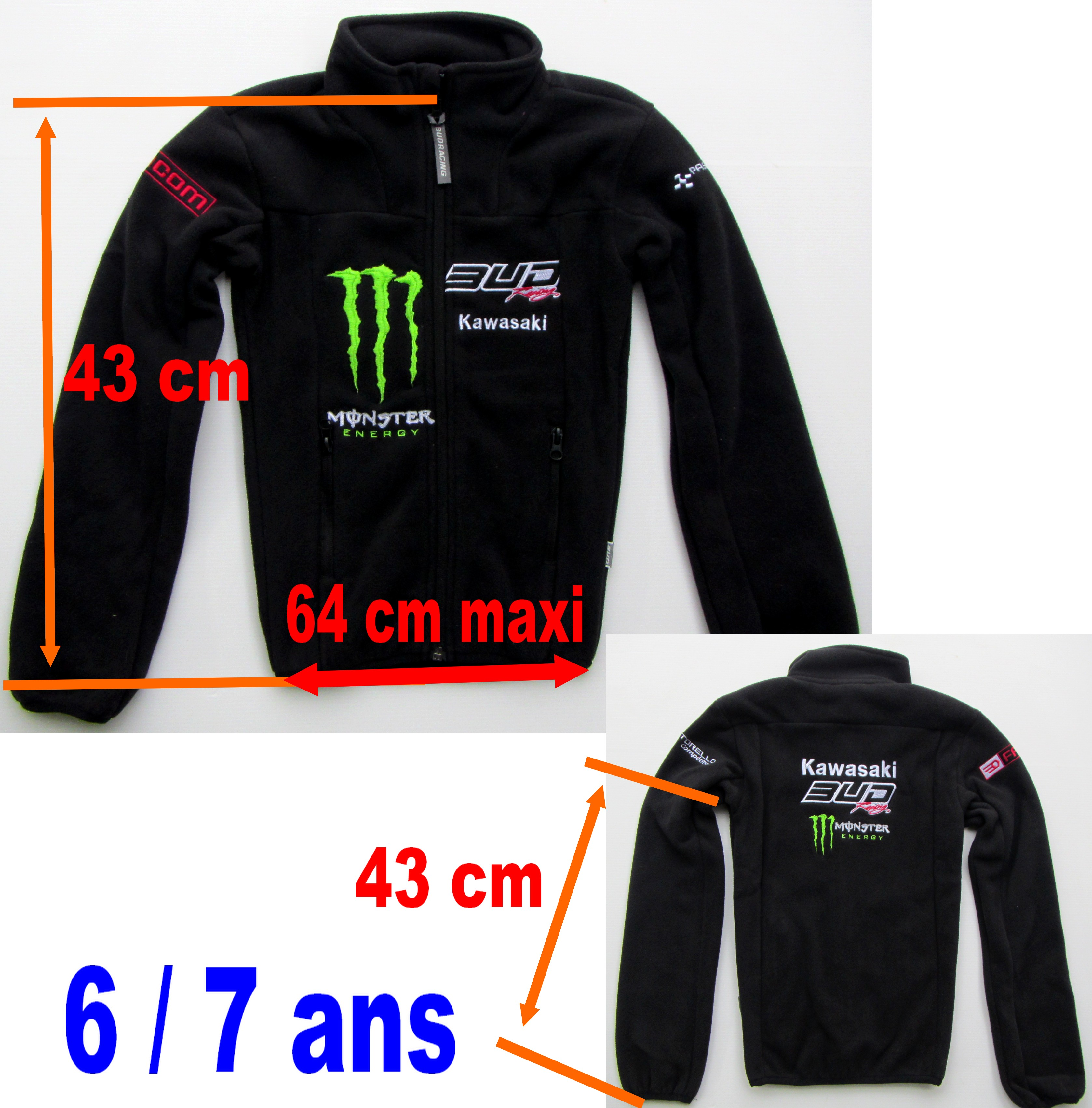 SWEAT VESTE POLAIRE ENFANT MONSTER TEAM BUD BUD ENFANT 6 / 7 ans