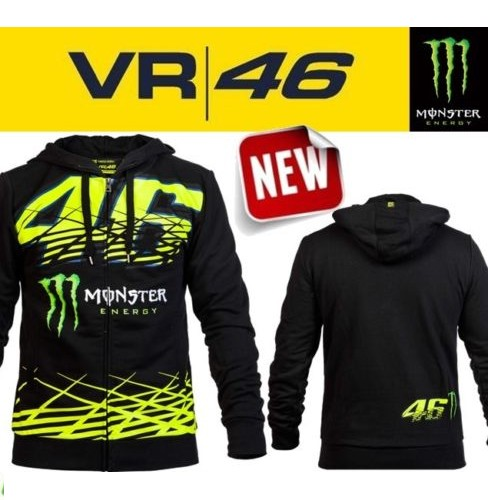 SWEAT VESTE A CAPUCHE VR46 MONSTER ENERGY S à XL