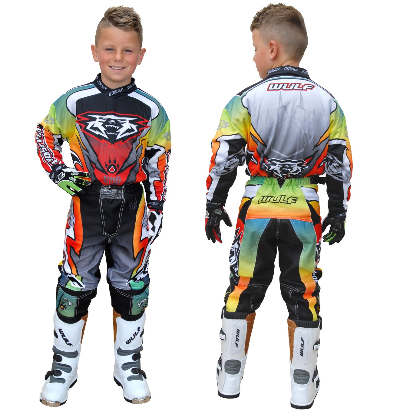 TENUE ENFANT CROSS BMX WULFSPORT ATTACK rainbow 4 � 14a T20�T28