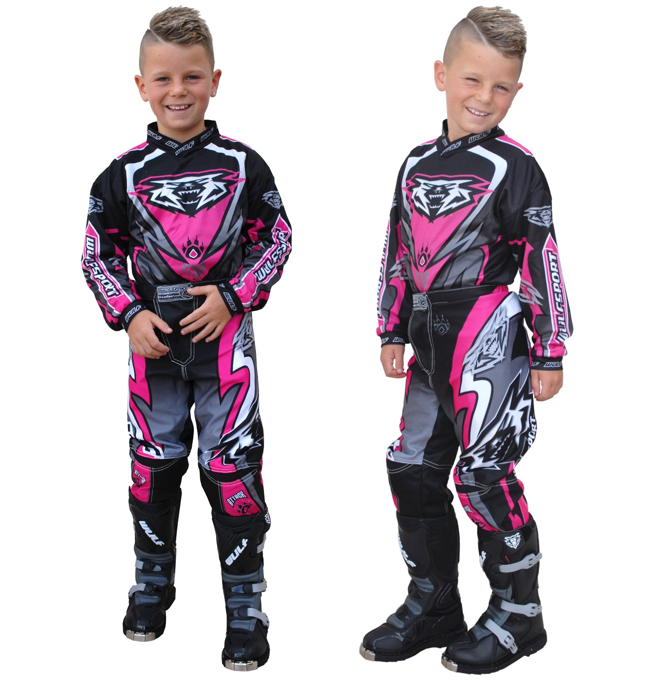 TENUE ENFANT CROSS BMX WULFSPORT ATTACK ROSE PINK 4�14a T20�T28