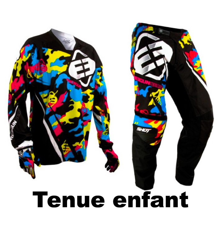 TENUE CROSS ou BMX SHOT FREEGUN CAMO ENFANT 8 à 13 ans