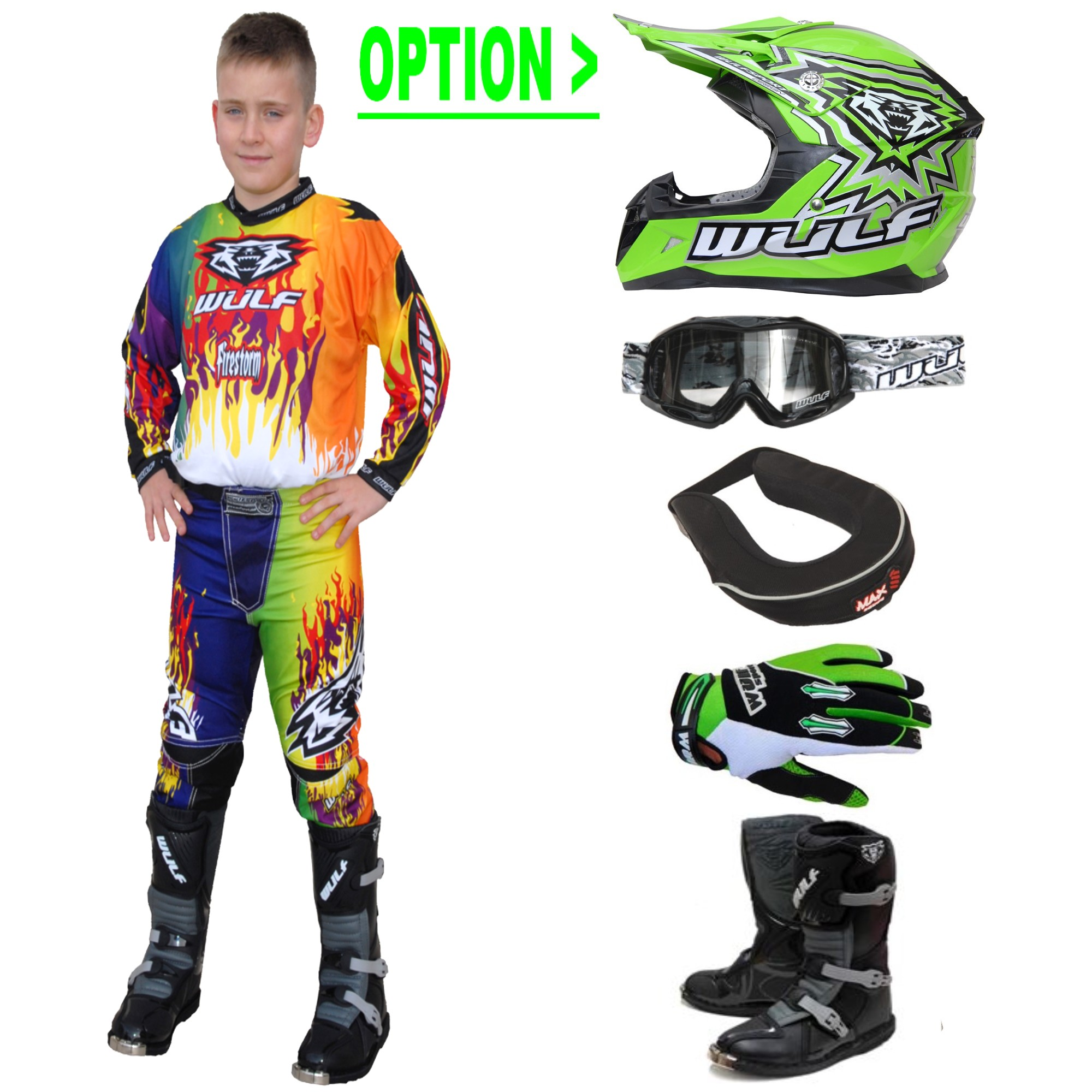 TENUE A OPTIONS ENFANT WULFSPORT STORM MULTI.V 4 à 14a T20 à 28