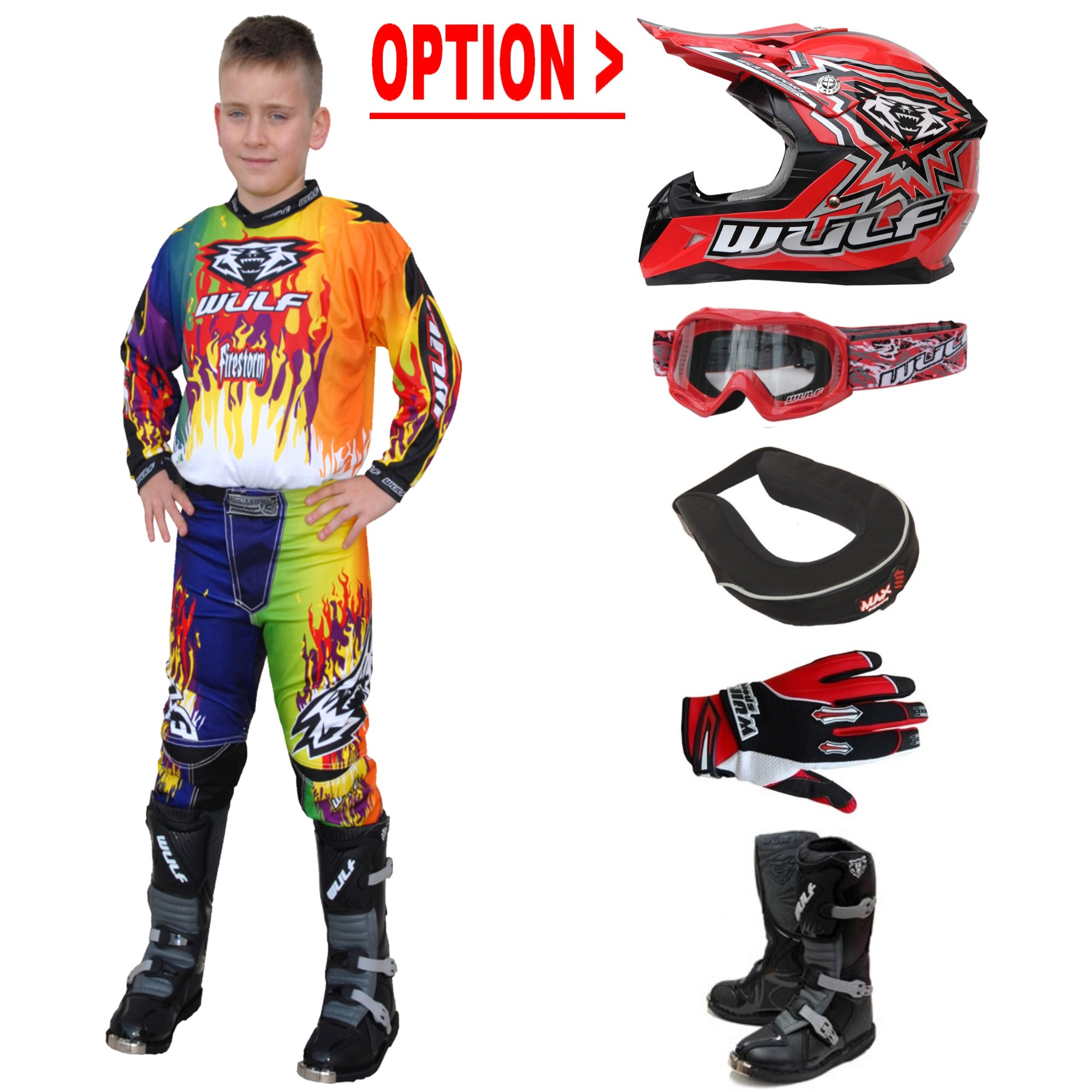 TENUE A OPTIONS ENFANT WULFSPORT STORM MULTI.R 4 à 14a T20 à 28