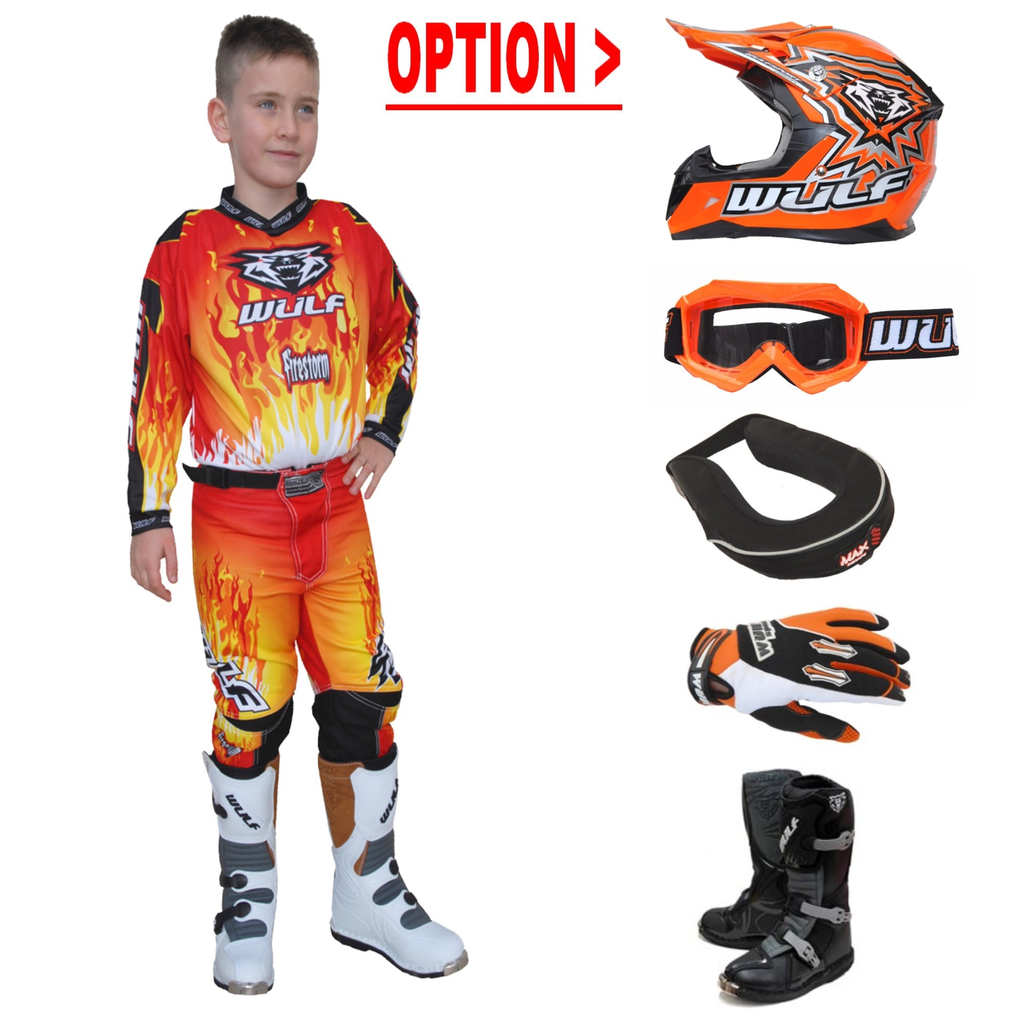 TENUE A OPTIONS ENFANT WULF STORM ROUGE ORANGE 4 à 14a T20 à 28