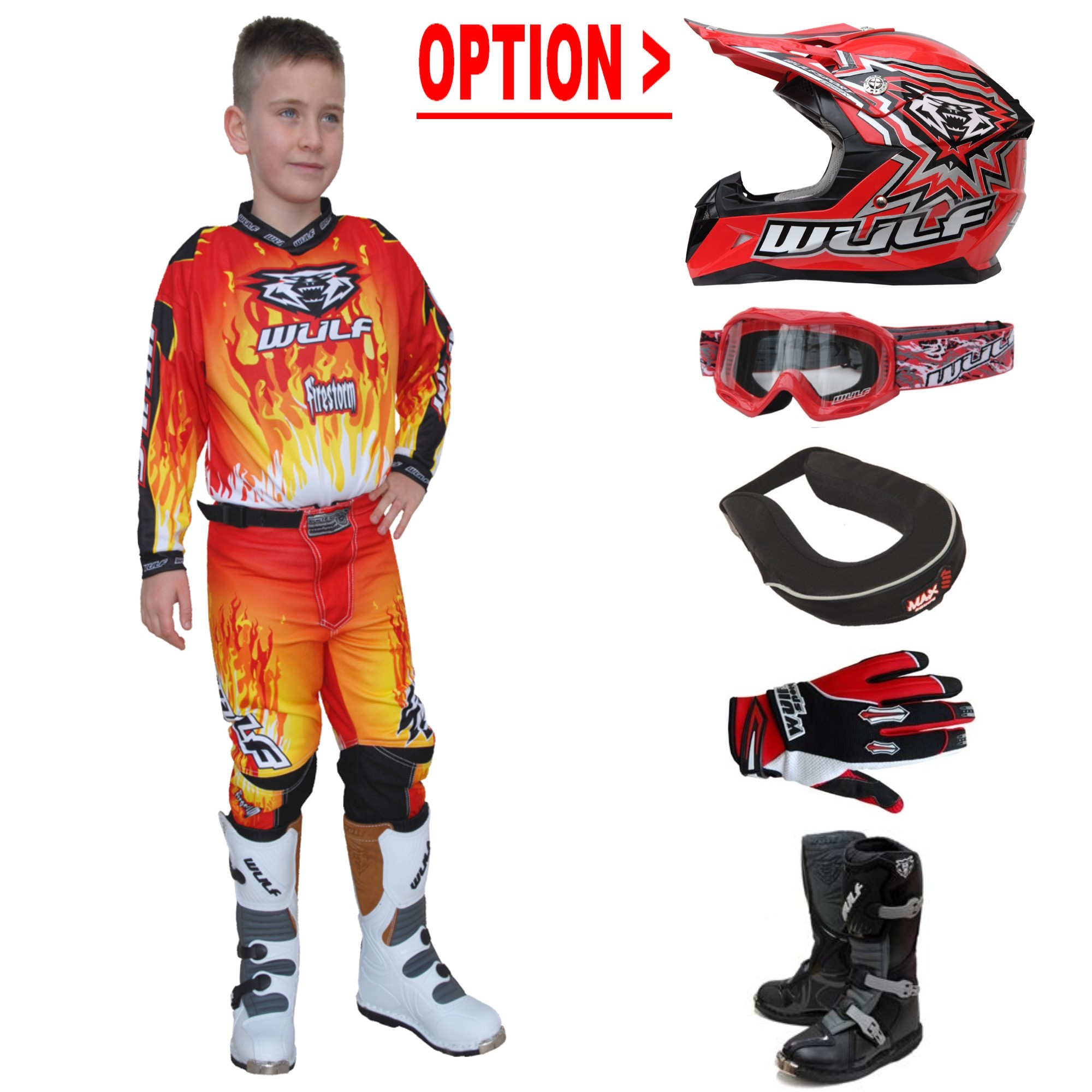 TENUE A OPTIONS ENFANT WULF STORM ROUGE 4 à 14a T20 à 28