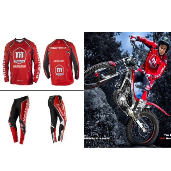 ENSEMBLE TENUE TRIAL  PANTALON MAILLOT HEBO MONTESA ROUGE