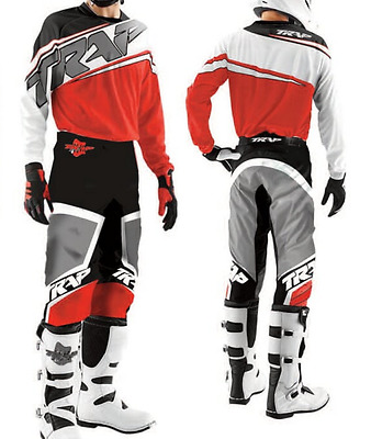 TENUE PANTALON MAILLOT CROSS BMX TRAP ENFANT ROUGE 8 10 12 14 an