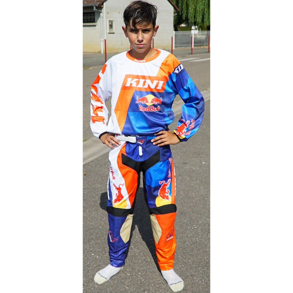 TENUE PANTALON MAILLOT KINI REDBULL COMP ORANGE ENFANT T22 à 28