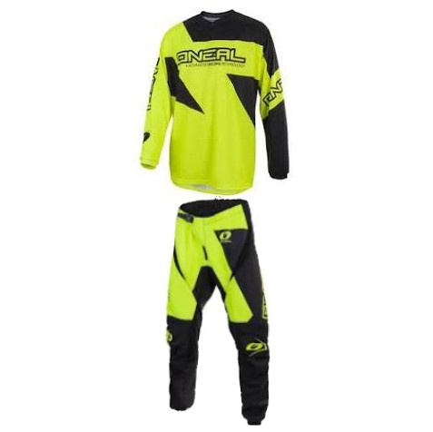 tenue ADULTE ADO O'NEAL MATRIX JAUNE FLUO CROSS BMX ttes tailles