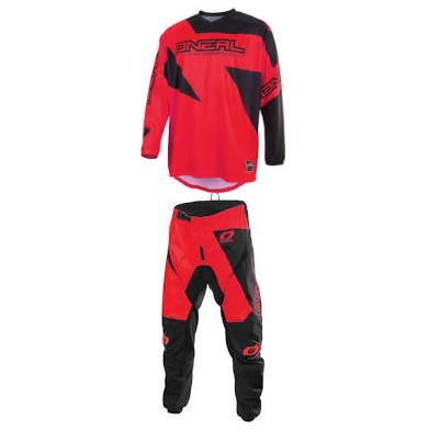 tenue ADULTE ADO O'NEAL MATRIX ROUGE MOTO CROSS BMX ttes tailles
