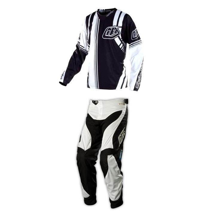 TENUE PANTALON MAILLOT MOTOCROSS BMX TROY LEE DESIGN blanc noir