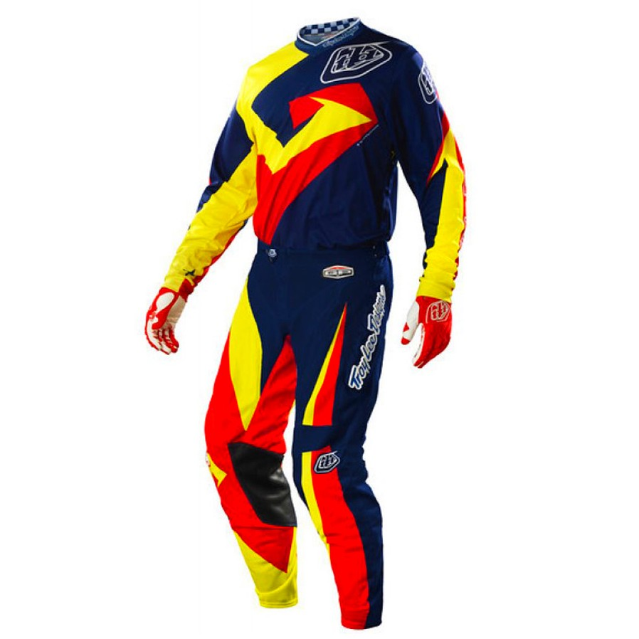 TENUE PANTALON MAILLOT TROY LEE VEGA BLEU ROUGE 32 L 34 XL