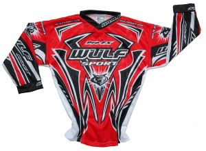 WULF : superbe MAILLOT ROUGE cross ou bmx BABY 2 / 3 ans