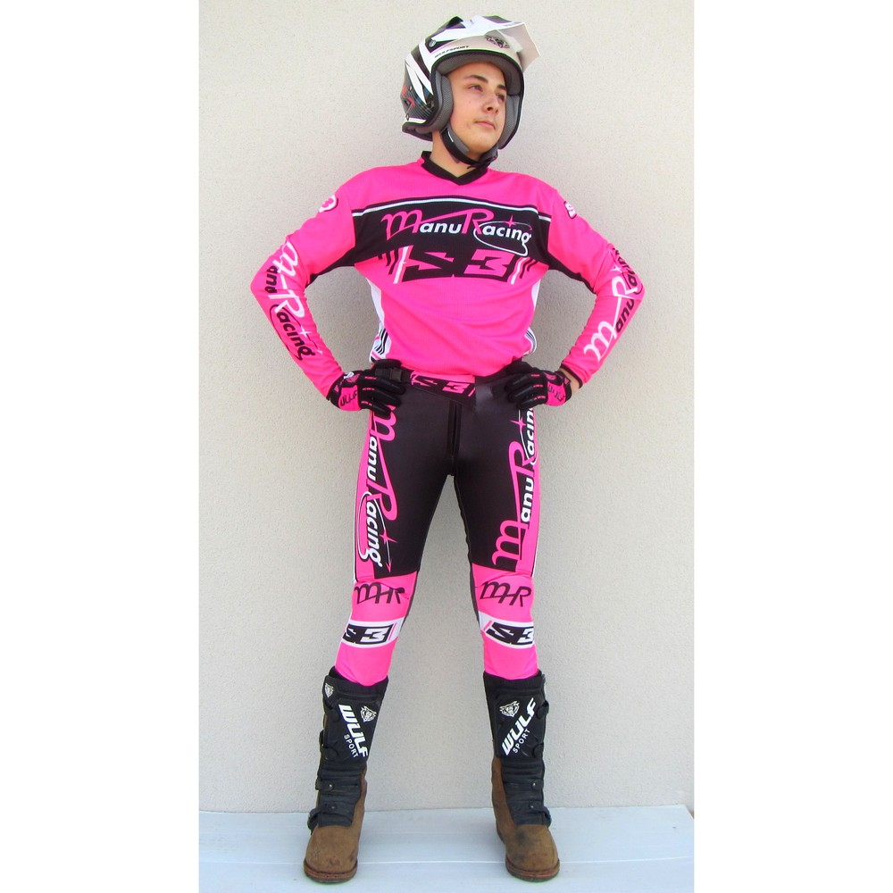 TENUE TRIAL MANURACING S3 RACING TEAM NOIR ROSE FLUO de XS A 3XL